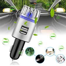 Máy tạo ion âm lọc không khí xe hơi kết hợp 2 cổng sạch nhanh USB 2.1A  (Silver) - TAKIMA.,JSC