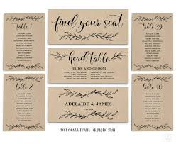 Vintage Wedding Seating Chart Template Header Signs And