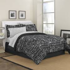 first at home live love laugh bed in a bag bedding set black com