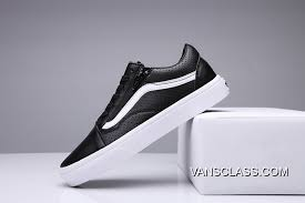 vans hole leather old skool zip classic black true white mens shoes new style