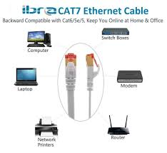 ibra® 30m cat7 high speed computer router gold plated plug stp wires cat7 rj45 ethernet lan networking cable professional gold headed network cable high speed premium quality cat 7 patch ethernet router lan