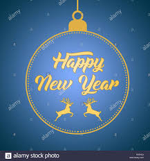 Happy New Year Greeting Card Design Template Layout On Blue Gradient