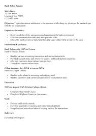 Entry Level Bank Teller Resume Objective Sample Skills Resumes 40 Simple Resume For Bank Teller