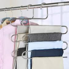 2019 s shaped 5 layers trousers hanger rack bathroom kitchen organizer pants holder tie rack for clothes hanger stainless steel from jiashao