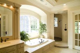 curvy mosaic tiled walls walk in shower design