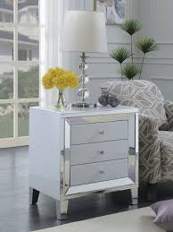 vegas white glass mirrored bedside tables. Amber White Glass Mirror Accent Collection Vegas Mirrored Bedside Tables
