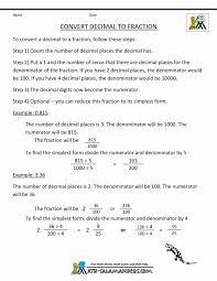 Decimals Into Fractions Worksheet Tes And Worksheets Grade Pdf ...