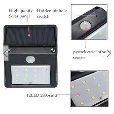 5x12led solar powered pir motion sensor light outdoor