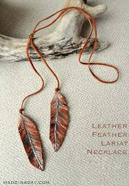 diy necklace ideas leather feather lariat necklace pendant beads statement choker