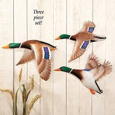 set of 3 vibrant flying wild duck birds spring metal plaque wall sculpture hanging outdoor garden art decor on flying geese wall art metal with duck wall decor amazon