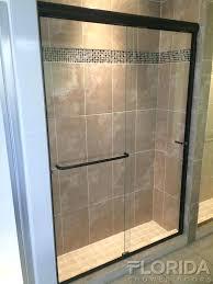 frameless sliding shower door oil rubbed bronze semi oil rubbed bronze bore through sliding bypass with