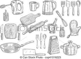Kitchen utensils and appliances isolated sketches cooking vector