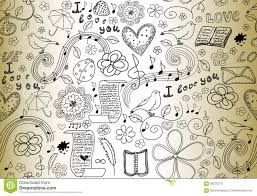 Abstract Vector Seamless Pattern With Words Of Love Books Music