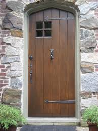 Old And Vintage Solid Wood Exterior Doors With Black Metal Handle - Custom wood exterior doors