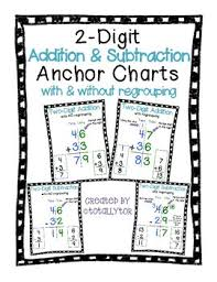 2 Digit Addition Subtraction Anchor Charts With Regrouping And Without