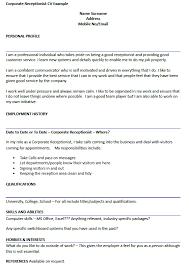 Receptionist Sample Cv Corporate Cv Example Infinite Add Reader