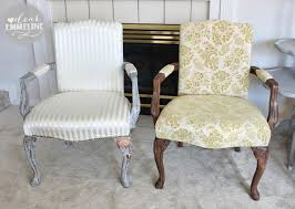 Armchair Upholstery Stripped Stained Upholstered Arm Chair