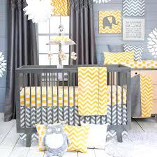 yellow and gray nursery bedding chevron zig zag baby crib grey pink