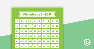 1 T0 100 Chart Plain Green Numbers 1 To 100 Chart Teaching Resource
