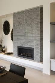 sleek mosaic tiled fireplace