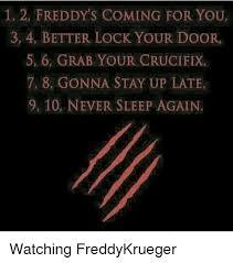 lock your door. Plain Your 1 2 FREDDYu0027S COMING FOR YOU 3 4 BETTER LOCK YOUR DOOR 5 6 GRAB  CRUCIFIX 7 8 GONNA STAY UP LATE 9 10 NEVER SLEEP AGAIN Watching FreddyKrueger  Meme On  For Lock Your Door