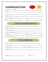 Cash Request Form Template