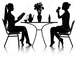 people sitting at table white background. silhouettes of two girls at a table in cafe on white background stock vector people sitting i