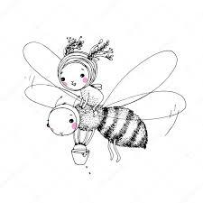 милая маленькая фея и пчела векторное изображение