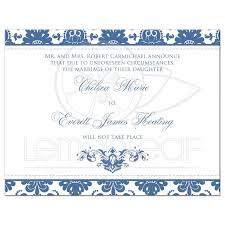Announcement Cards Wedding Wedding Cancellation Card Blue And White Damask