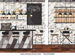 coffee bar. Modern Flat Design Coffee Shop Interior Vector Illustration Bar