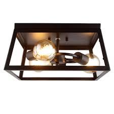 square antique style industrial flush mount ceiling light fixture lightingmust