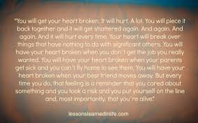 Lessons Learned In Lifeyou Will Get Your Heart Broken Lessons