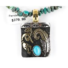12kt gold filled and 925 sterling silver handmade kokopelli certified authentic navajo turquoise native american