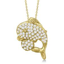 pave diamond dolphin pendant necklace 14k yellow gold 0 70ct