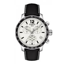 mens tissot watches fraser hart jewellers official stockists tissot quickster chronograph men s white dial black leather strap watch