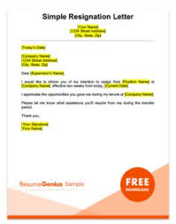 good letter of resignation resignation letter samples free downloadable letters