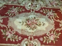 3 x 2 beautiful burgandy beige handmade french aubusson design needlepoint rug