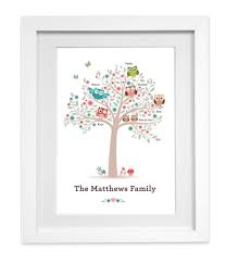 personalised owl family tree print picture wall art  on personalised wall art family tree with personalised owl family tree print picture wall art ready to frame