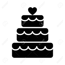 Stacked Wedding Cake Dessert With Heart Topper Flat Vector Icon