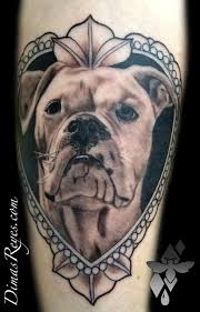 Black and Grey Dog Portrait Frame Tattoo by Dimas Reyes TattooNOW