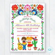 Kids Fiesta Birthday Invitation Children's Mexican Fiesta Invite Custom Birthday Invitation Pictures