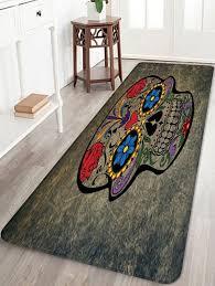 chic sugar skull pattern water absorption area rug