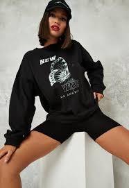 Black <b>New</b> Wave Graphic <b>Extreme</b> Oversized Lightweight <b>Sweatshirt</b> ...