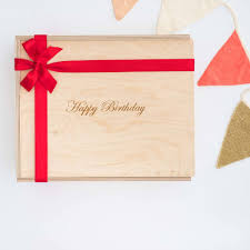 happy birthday engraved wooden gift box