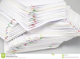 Paper Reports Colorful Paper Clip With Pile Of Overload Paperwork And