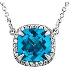 unbelievable 2 8ct 8mm checkerboard antique square swiss blue topaz pendant with halo diamond accents free chain