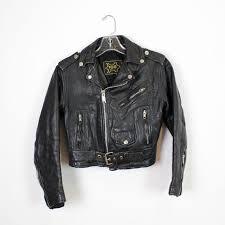 leather motorcycle jacket s xs shrunken kids black moto jacket