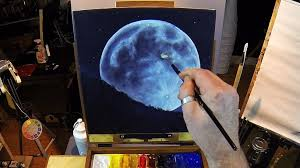 how to paint a full moon acrylic painting lesson in real time