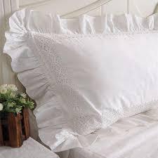 new white satin lace ruffle pillow case european style elegant embroidered pillowcase luxury bedding pillow cover no filler duvet cover uk standard pillow