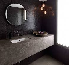 Black Round Bathroom Mirror With Mosaic Tile Texture